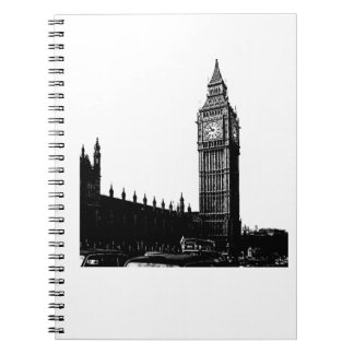 Tower of London Big Ben Black and White Photograph Spiral Notebooks