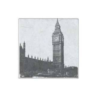 Tower of London Big Ben Black and White Photograph Stone Magnet