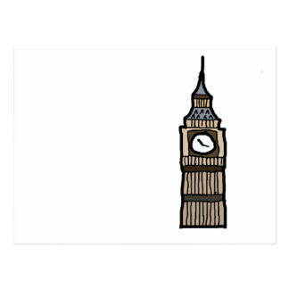 Tower of London Big Ben Cartoon Illustration Postcard