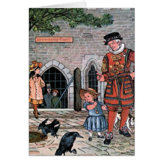 """Tower of London Ravens"" Vintage Illustration Greeting Card"
