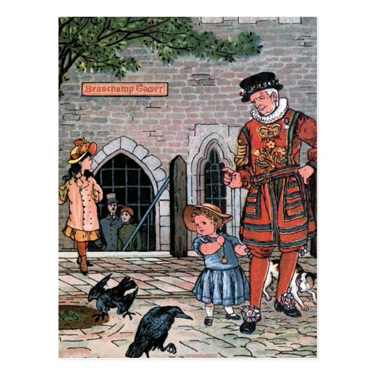 """Tower of London Ravens"" Vintage Illustration Postcard"