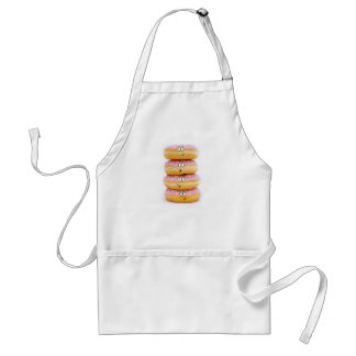 tower of pink doughnut characters apron
