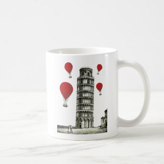 Tower of Pisa and Red Hot Air Balloons Basic White Mug