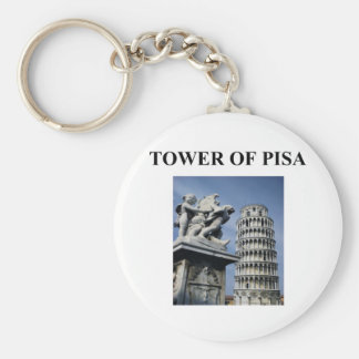 tower of pisa italy basic round button key ring