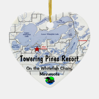 Towering Pines Resort with Whitefish Chain Map Christmas Ornament