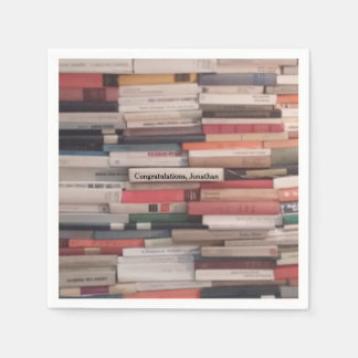 Towering Wall of Books Congratulations Custom Name Paper Serviettes