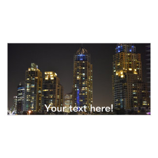 Towers in Dubai Marina at night Customised Photo Card