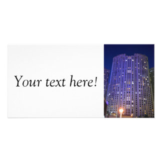 Towers in Dubai Marina at night Personalized Photo Card