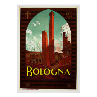 Towers of Bologna Italy Vintage Poster