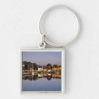 Town and harbour, Kinvarra, County Galway, Silver-Colored Square Key Ring