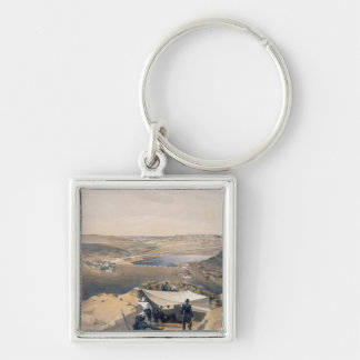 Town Batteries, or Interior Fortifications of Seba Silver-Colored Square Key Ring
