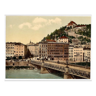 Town bridge, convent and Kapuzinerberg, Salzburg, Postcard