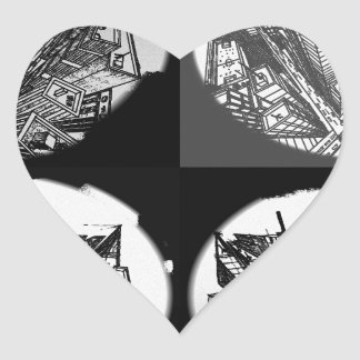 town center 3 POINT perspective black & white Heart Sticker