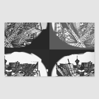 town center 3 POINT perspective black & white Rectangular Sticker