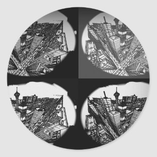 town center 3 POINT perspective black & white Round Sticker