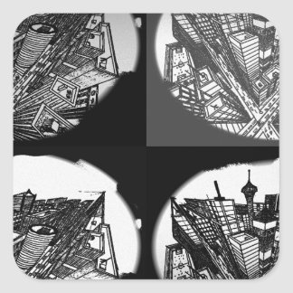 town center 3 POINT perspective black & white Square Sticker