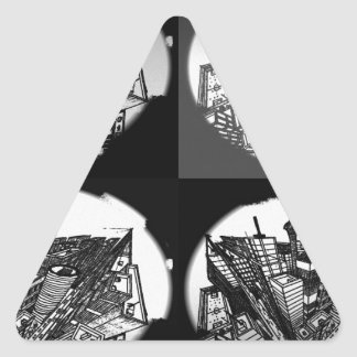 town center 3 POINT perspective black & white Triangle Sticker