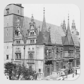 Town Hall, Breslau  Poland, c.1910 Square Stickers