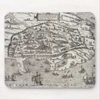 Town map of Alexandria in Egypt, c.1625 (engraving Mouse Mat