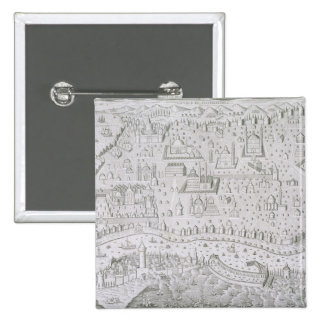 Town map of Constantinople, Turkey, c.1650 (engrav 15 Cm Square Badge