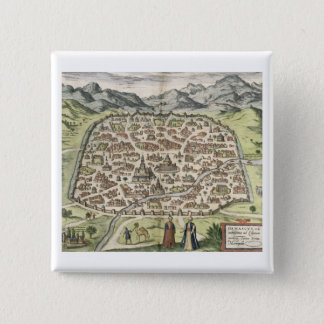 Town map of Damascus, Syria, 1620 (engraving) 15 Cm Square Badge
