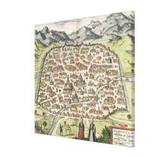 Town map of Damascus, Syria, 1620 (engraving) Canvas Print