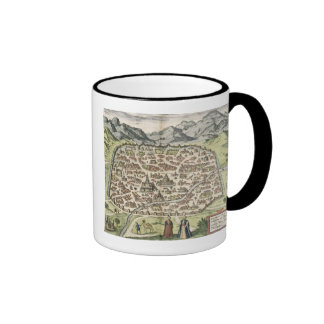 Town map of Damascus, Syria, 1620 (engraving) Ringer Mug