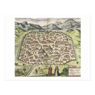 Town map of Damascus, Syria, 1620 (engraving) Postcard