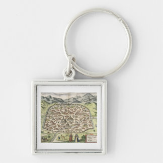 Town map of Damascus, Syria, 1620 (engraving) Silver-Colored Square Key Ring