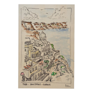 Town of Fira | Island of Santorini, Greece Wood Print