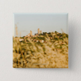 Town on a hill, San Gimignano, Siena Province, 15 Cm Square Badge