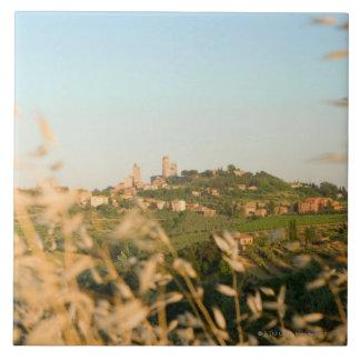 Town on a hill, San Gimignano, Siena Province, 2 Tile