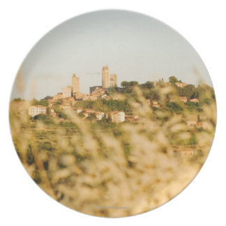 Town on a hill, San Gimignano, Siena Province, Party Plate
