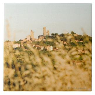 Town on a hill, San Gimignano, Siena Province, Tile