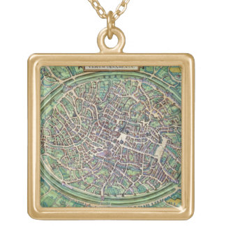 Town Plan of Bruges, from 'Civitates Orbis Terraru Gold Plated Necklace