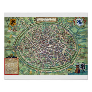 Town Plan of Bruges, from 'Civitates Orbis Terraru Poster