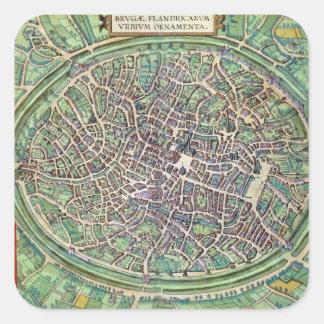 Town Plan of Bruges, from 'Civitates Orbis Terraru Square Sticker