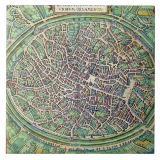 Town Plan of Bruges, from 'Civitates Orbis Terraru Tile