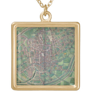 Town Plan of Brussels, from 'Civitates Orbis Terra Gold Plated Necklace