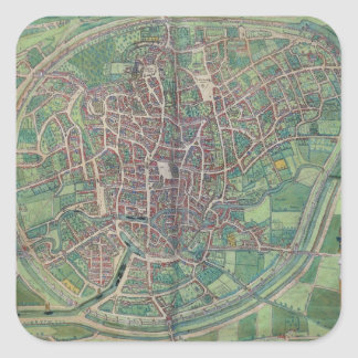 Town Plan of Brussels, from 'Civitates Orbis Terra Square Sticker