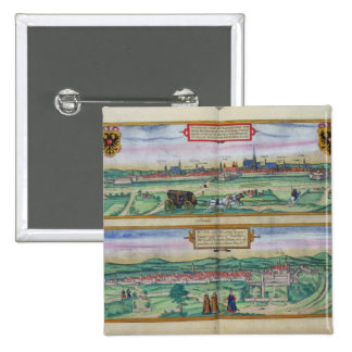 Town Plan of Vienna and Buda, from 'Civitates Orbi 15 Cm Square Badge