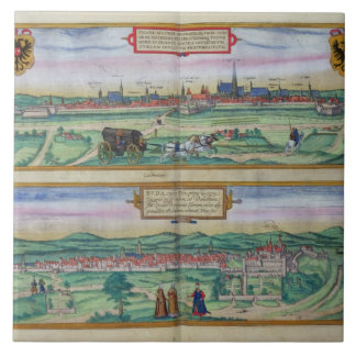 Town Plan of Vienna and Buda, from 'Civitates Orbi Tile