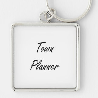 Town Planner Artistic Job Design Silver-Colored Square Keychain