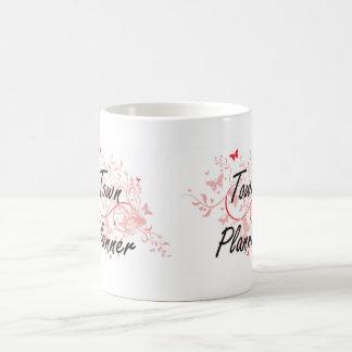 Town Planner Artistic Job Design with Butterflies Basic White Mug