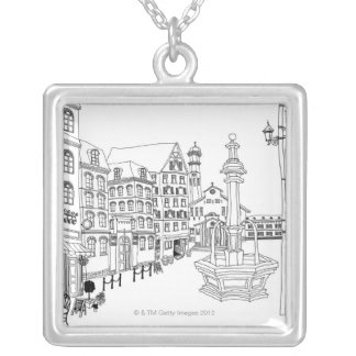 Town Square Fountain Silver Plated Necklace