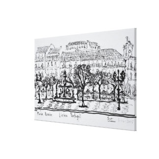 Town Square Placa Rossio | Lisbon, Portugal Canvas Print