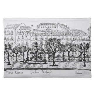 Town Square Placa Rossio | Lisbon, Portugal Placemat