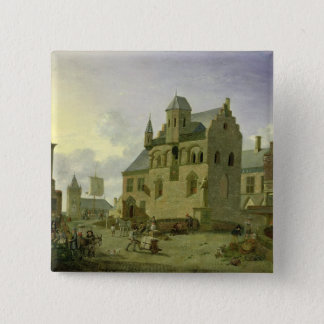 Town square with figures and peasants trading 15 cm square badge