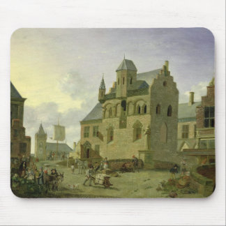 Town square with figures and peasants trading mouse mat