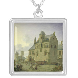 Town square with figures and peasants trading silver plated necklace